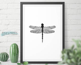Dragonfly black and white wall art - digital download you can print in any size
