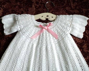 Vintage Christening Baptismal Gown White Crochet Gown Baby Dress Hand Made