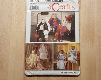 Simplicity Crafts 9336 Decorative Stuffed 24 inch Bunny and Cat Dolls and Clothes presented by Donellensvintage