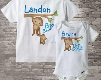Big Brother Little Brother Shirt set of 2, Sibling Shirt, Personalized Tshirt with Cute Monkeys - Price is for Both 12302013g