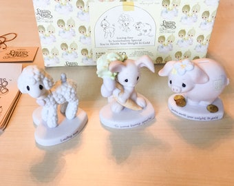 Vintage Precious Moments Loving Ewe - To Somebunny Special - You're Worth Your Weight In Gold  Figurine Set E-9282