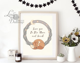 I love you to the moon and back, Nursery PRINTABLE, Nursery Prints, Nursery decor, Kids room decor, baby shower decor, baby shower gift, fox