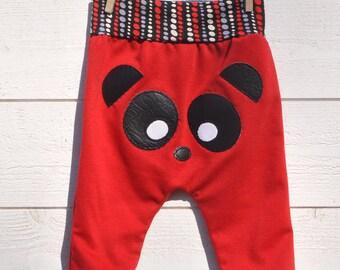Baby Panda harem pants red & Black, comfortable, fun and playful