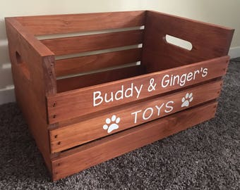 Personalized Wooden Crate For Cat/Dog/Pet Toys -- Rustic Toybox For Your Pet