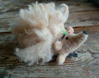 Hedgehog Needle Felted Pincushion with Raw Shetland Fleece Fill of Crushed Walnut Shells.