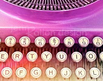 Typewriter Photo, Typewriter Keys, Retro Art, Purple, Vintage Typewriter Photo, Office Art, Fine Art, Still Life 8x10 Photograph Print