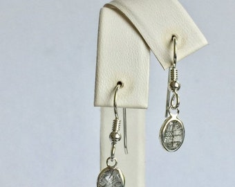 Memorial Day Sale Tourmalinated Quartz 8x6mm 2.05ctw Backset Drop Sterling Silver Earrings