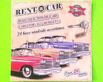 Vintage Rent a Car Automotive Rockabilly Greaser Retro Road Trip Series Vinyl Sticker