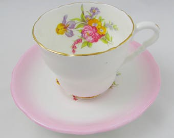 Royal Stafford Pink Fade Tea Cup and Saucer with Floral Bouquet, Vintage Bone China