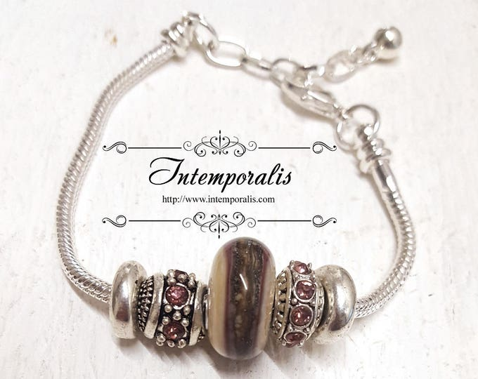 Ivory and dark pink lampwork bead charm bracelet, european style bracelet , OOAK, SABRLW08