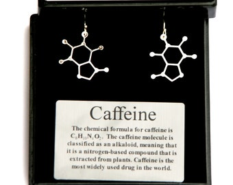 Caffeine Molecule Earrings  Science of caffeine earrings molecular structure of caffeine on sterling silver lever back ear wires  caffeine