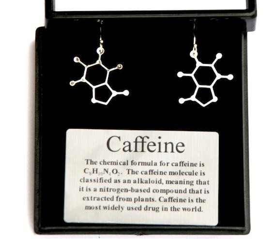 Caffeine Molecule Earrings Science Of Caffeine Earrings