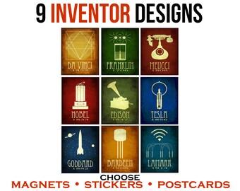 9 Inventor Postcards or Magnets or Stickers. Historical Steampunk Rock Star Scientist Art. STEM Illustrations. Science Geek Gift Under 20