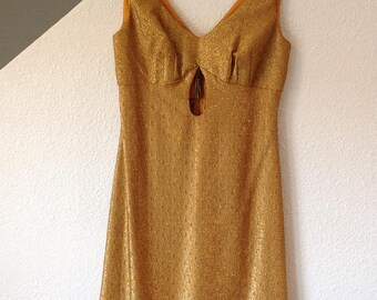 Vintage 60s Gold metallic thread Empire Waist MINI Dress Festival mod Dress XS
