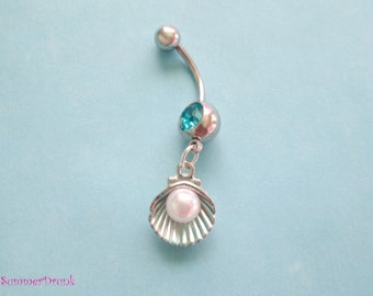 Shell belly button ring , Navel ring, Belly button Jewelry, Belly button piercing, Belly button rings,Boho belly rings,Boho belly jewelry