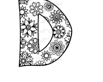 Letter D Alphabet Flowers SVG JPEG PNG Pdf Use With Silhouette Studio And Cricut Design Space