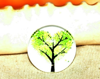 Round cabochon 1 X pattern: tree 20 mm