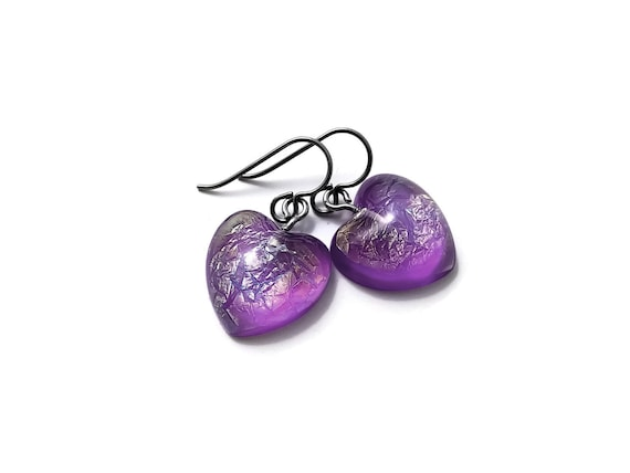Purple heart drop dangle earrings - Hypoallergenic pure titanium and resin earrings