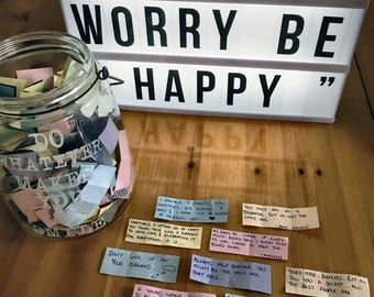 Unique Gift. Personalised Happy Thoughts Jar. Positive Thoughts Jar.