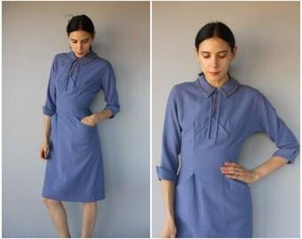Vintage 1950s Dress • 50s Dress •  Wool Dress •  1950s Wiggle Dress • 1940s Dress  • Vintage Wool Day Dress - (small)