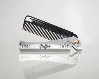 Personalised Man Comb. Gift for men. Folding Comb and bottle opener. Pocket Comb. Men's Gift