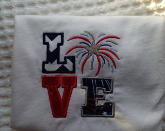 LOVE 4th of july shirt. Embroidered Fourth of july shirt