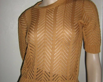 Handmade ladies gold silk short sleeved lace top