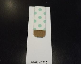 Magnetic Book Mark- Mint Green Polka dots