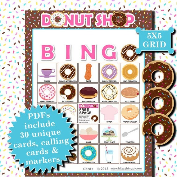 Donut Shop 5x5 Bingo Printable Pdfs Contain Everything You