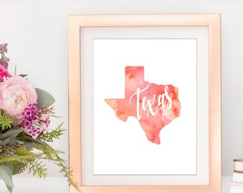 SALE-Texas Orange And Pink Watercolor State Digital Print-Wall Art-Digital DesignsHome Decor-Gallery Wall-Typography-State Sign