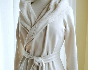 Organic cotton bathrobe with hood - extra long, natural jersey knit