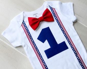 Fourth of July Baby Boy Birthday Outfit, Fourth of July Outfit, Red, White and Blue Outfit