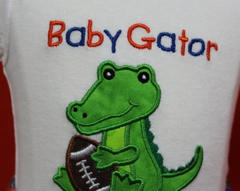 Baby boy clothes, Florida, Florida gators, gators, baby shower gift, new baby gift, baby boy gift, bodysuit, football, orange, blue
