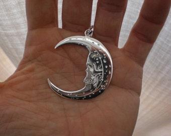 skull moon silver pendant