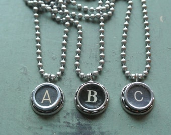 Typewriter Letter Necklace- Vintage, UPcycled, Authentic, Personalized Letter, Typewriter Initial Necklace, A-Z available By UPcycled Works