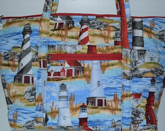 Quilted Fabric Extra Large Tote Bag with Beautiful Lighthouses