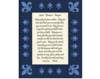 St Theresa's Prayer Inspirational Art Wall Art Paper Cut Mat Border 8X10 Unframed