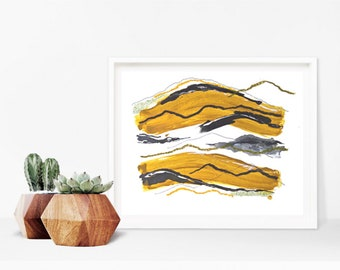 Abstract Art - Colorful Moderm Art - Ochre - Mustard -  Modern Wall Art - Minimal Art - Abstract Landscape Painting