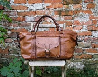 Hand Made Duffle Bag / Brown Leather Overnight Bag / Leather Travel Bag / Brown Leather Weekender Bag