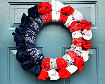 Fourth of July Wreath - 4th of July Wreath - Bandana Wreath - Patriotic Wreath - Red White and Blue - Memorial Day - Summer , Veterans Day