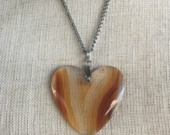 Vintage Heart Necklace Lucite Heart Mod Necklace Vintage 70s Necklace Space Age Jewelry Statement Piece Costume Jewelry Love Gifts