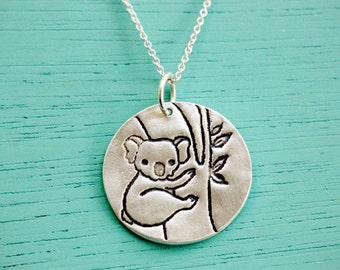 koala necklace, eco friendly / handmade silver jewelry for mom, boygirlparty / chocolate and steel, koala jewelry, koala charm, gift for mom