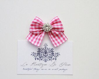 Handmade Checkered Ribbon Bows with Diamante