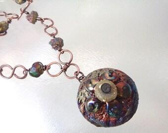 Copper Chain with Raku Flower Focal