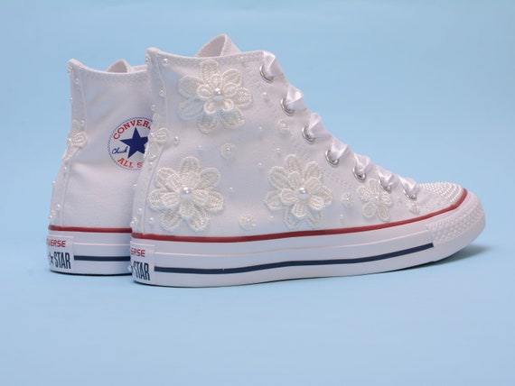 94a2a05405c ... with trainers shoes top wedding Pearl sneakers Custom Converse Pearl  pearls Converse Sneakers Converse High Converse ...