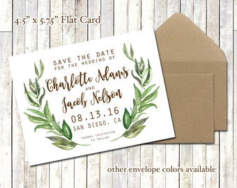 Watercolor Laurel SAVE THE DATE Printed Cards with Envelopes