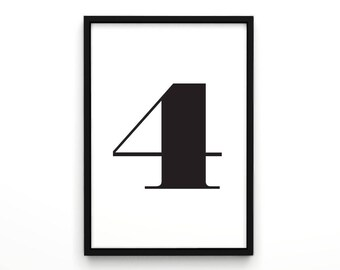 """Typography Print, Plus Sign, Swiss Four """"4"""", Typography Poster, Bedroom Wall Decor, Scandinavian Typography, Black and White, Numbers Print"""