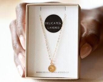 Dandelion Necklace, Botanical Jewelry, Wish Necklace, Flower Necklace, Friendship Necklace, Gold Coin Necklace, Feminine Necklace, 22K Gold