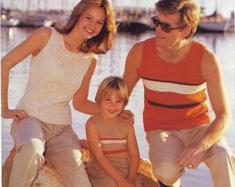 "Easy Family's Vests Crochet Pattern. Chest sizes 22"" - 44"". Vintage Crochet PDF Pattern. Instant Download"