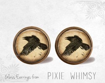 RAVEN Earrings, Raven Stud Earrings, Raven Post Earrings, Stud Earrings, Pierced Earrings, Raven Studs, Crow Earrings, Crow Stud Earrings